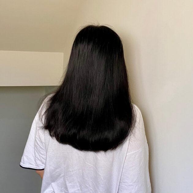 綠藤生機頭皮淨化洗髮精及奇蹟辣木潤髮入使用後模樣